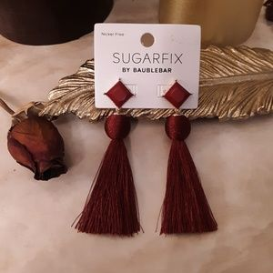 Maroon Gold Tassel Dangle Earrings